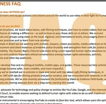WITNESS FAQ